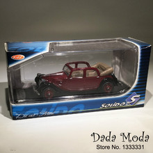 Vintage Die-cast rc Car Model Metal Toys with sound & light Gift for Children  1:43 Antique  cabriolet Red Color in Box