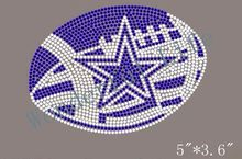 Free Shipping star Football Rhinestone Iron on Transfer cobalt blue with white clear crystal(China)