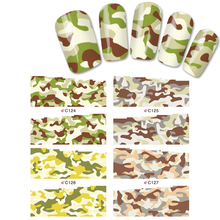 4 Sheets Mix Styles Camouflage Leopard Water Transfer Decals Designs full cover nail sticker Nail Art Stiker Water Nail Sticker