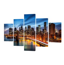 5 Panel Modern New York Brooklyn Bridge wall Painting Art on Canvas Wall Pictures Vintage Home decor For Living room(China)