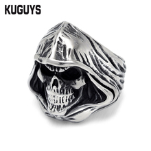 KUGUYS Hell's Angels Devil Mens Rings Punk Jewelry Halloween Gifts Skull Ring Biker Accessories High Quality Stainless Steel