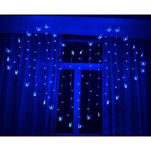 2*1.5M Heart Shape 124LEDs 34 Butterfly Curtain lights AC220V Waterproof holiday lighting Christmas wedding decoration