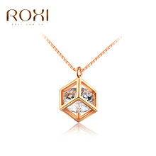 2017 ROXI Classic Necklace Permanent Solitaire Cube Arrows CZ Pendant Necklace Top Quality Women Necklace Best Gifts