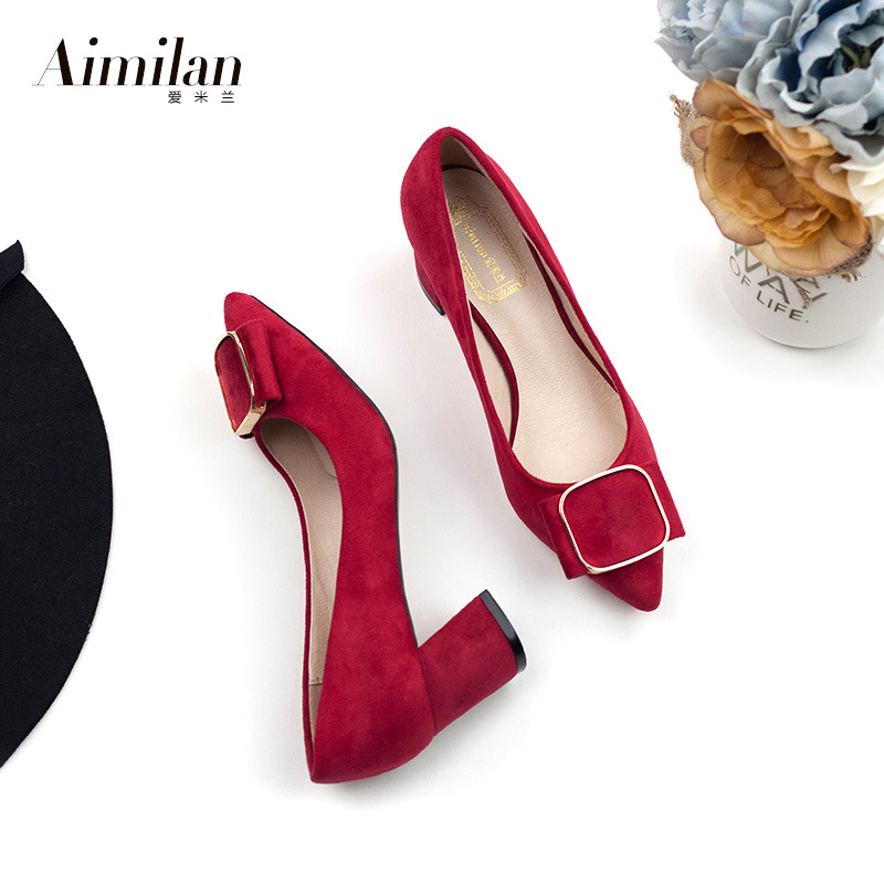 2017 Spring Flock Red Bottom Pumps Women Single Shoes Low Square Heel Slip On Shoes Pointed Toe Mary Jane Shoes NX115 <br><br>Aliexpress
