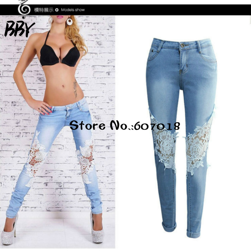 2017 New  Elasticity low waist Pencil Pants Holes Jeans apparel hollow out lace ladies jeans Female Slim denim pants mujer R423Îäåæäà è àêñåññóàðû<br><br>