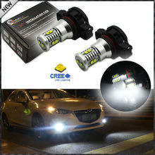 (2) Super Bright White 10-SMD CRE'E High Power 5202 5201 2504 PSX24W H16 LED Bulbs For Daytime Running Lights (DRL) or Fog Lamps