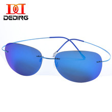 DEDING Mens rimless titanium polarized Sunglasses Large Lens Super Light Frame Sun Glasses Mirroed Uv Protection glasses DD1357