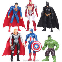9CM Avengers Marvel Superheroes Thor Captain America Superman Batman Hulk Iron Man PVC Action Figures Anime Figurines Kids Toys