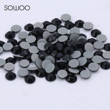 1440pcs/lot Eco-friendly lead free Lower 90PPM Hot Fix Rhinestone Round Shap Jet black Color Iron on Rhinestone baby studs(China)