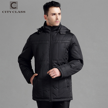 City Class mens winter thick coats business cotton padded hooded warm jackets for male men parkas black classic overcoat 250-13(China)