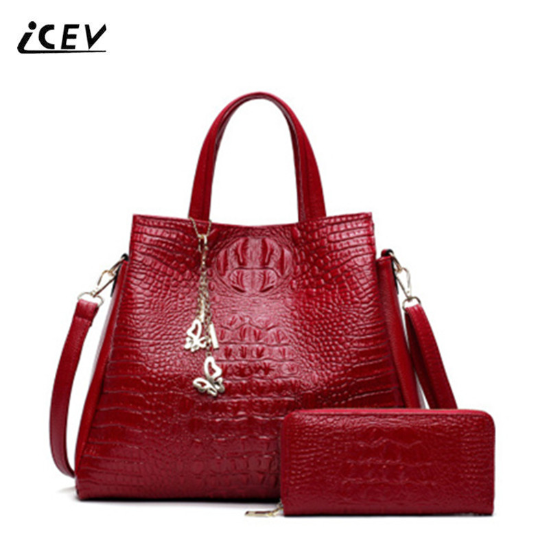 ICEV New Fashion Crocodile Pattern Women Leather Handbags Alligator Bags Handbags Women Famous Brands Office Totes Bags Set Sac<br>