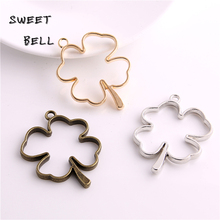 Sweet Bell (12pcs/lot) 34*44mm Three color Alloy Hollow Clover Charm Pendant Jewelry Making Pendant DIY Handmade Craft D6084-1