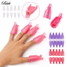 Bittb 10Pcs Nail Polish Remover Cover Aid Clip Nail Gel Remover Wrap Kit Manicure Pedicure Cleaner Fixing Cap Nail Art Tools Set