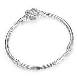 Женский серебряный браслет-цепочка в форме змеи с  европейской подвеской, аксессуары своими руками