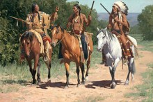 Native indian pinturas del caballo arte occidental paño del arte de la seda cartel de la pared y grabados