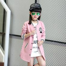 Kids Jackets for Girls 2017 New Spring Autumn Fashion Girls Baseball Coat Long Style Pink Blue Childrens Outerwear(China)