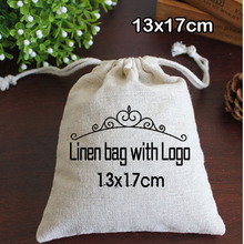 Personalized Logo Linen bags 13x17cm can print Company name logo or store name