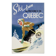 Woman Skiing - Both English French Ski Print Trip Travel Retro Vintage Poster Decorative DIY Wall Art Home Bar Posters Decor
