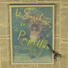 Vintage Poster Le scaphandre et le papillon retro Kraft French film poster bar coffee shop retro poster 30x21cm