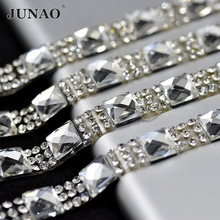 JUNAO 5 Yard 8mm Width Clear Glass Crystal Rhinestone Chain Trim Bridal Applique Crystal Strass Mesh Banding For Wedding Dress