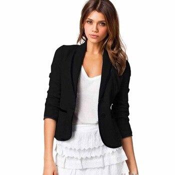 Spring OL Women Blazers Jacket Casual Two Buttons Long Sleeve Shawl Lapel Suit Outwear Coats Black Cardigan Femme Blaser WDC456