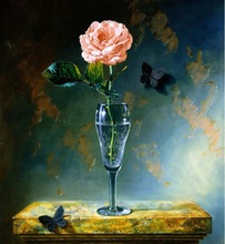 Frameless oil painting by numbers paint by number for home decor oil picture painting 4050 still life rose in vase
