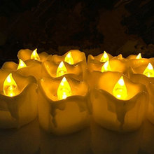 240PCS/lot Flameless LED Tea Light w/Timer Wax Dripped Battery powered candle lamp Wedding Xmas Home Party bar decor-AMBER