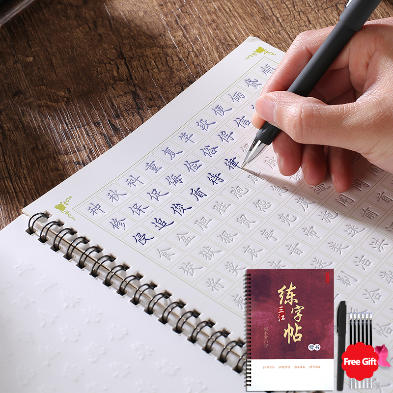 3D Chinese Characters Reusable Groove Calligraphy Copybook Erasable pen Learn hanzi Adults Art writing books(China)