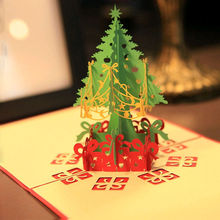 1pc Merry Christmas Tree Vintage 3D laser cut pop up paper handmade custom greeting cards Christmas gifts souvenirs postcards(China)