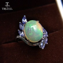 TBJ,18K white gold ring with natural opal and tanzanite gemstone ,simple and fashion Ring for girls with gift box,as best gift(China)