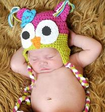 Wholesale - NEW - Handmade Knitted Crochet Babybaby owl hat 2014 boy's monkey Hat -DQX176C(China)