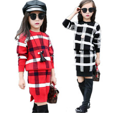 Girls Clothing sets 2017 Autumn Winter Girls Clothes Plaid Knitwear Sweater Skirt Children Clothing Set Kids Clothes Tracksuit(China)