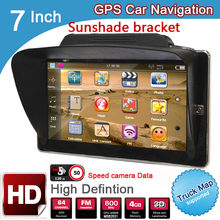 New 7 inch HD Car GPS Navigation 8GB/DDR3 2017 Maps For Europe/USA+Canada with Sunshade Sunshield bracket Truck Camper Caravan(China)