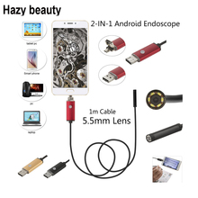 Hazy beauty Usb Endoscope Android Camera 5.5mm IP67 Endoskopie mini snake endoskopie For Smartphone Pc Car Detection 6 led(China)