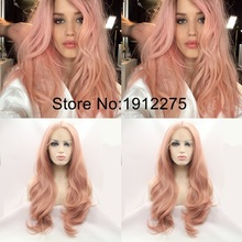 Fashion Peach Pink Body Wave Synthetic Lace Front Wig For Women Middle Part Long Pink Hair Glueless Lace Wig Heat Resistant Hair