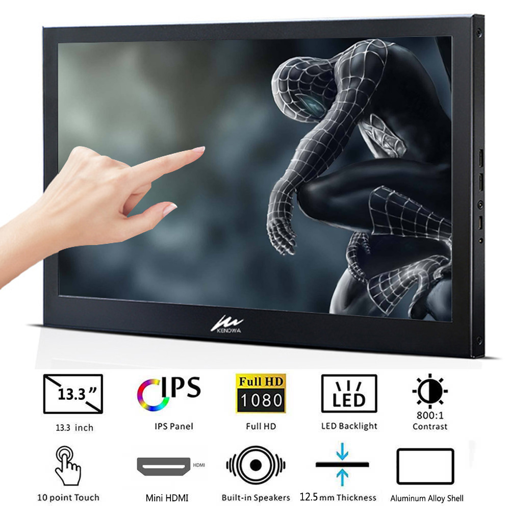 13.3 inch Touchscreen Monitor PC 1920x1080 IPS Slim Portable  HDMI HD 1080P Computer LCD Monitor for PS3 PS4 Xbox Raspberry Pi