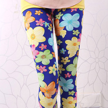 new sweet pink blue white red green flower leggings girl legging children print skinny pencil pants free shipping(China)