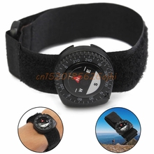 Compass Outdoor Clip-On Watchband Hiking Gear Compasses GPS Nylon Band Bracelet With Closure Useful #H030#(China)