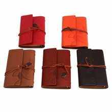 Vintage Notebook Diary String Leaf Travel Leather Paper Journal Book Sketchbook(China)