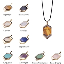 wholesale 10pcs\lot quartz stone necklaces & pendants Geometric shape howlite tiger eye black onyx crystal opal necklace women