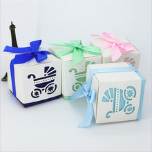 100pcs Baby Shower Candy Favors Gift Box Paper Craft Chic Baby Carriage Chocolate Box Baby Girl/Boy Birthday Candy Box Gif Box