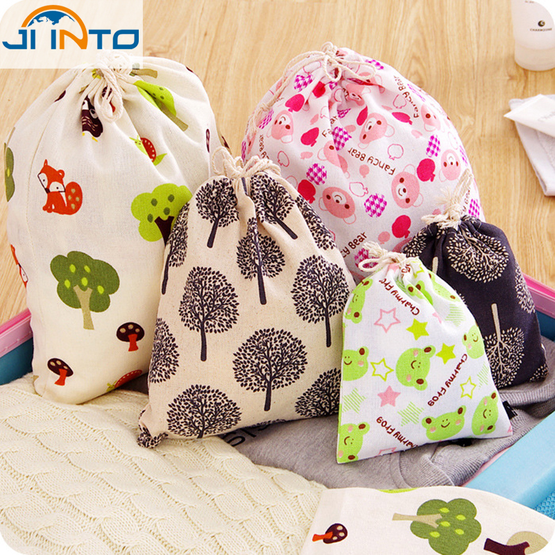 Durable cotton and linen Storage Bags For Travel Shoe Laundry Lingerie Makeup Pouch Cosmetic Organizer dust bag Beam pockets(China (Mainland))