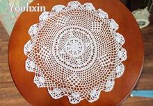 HOT Handmade Cotton Crochet tablecloth white Table cloth towel doly lace round Table Cover kitchen mantel Garden wedding decor(China)