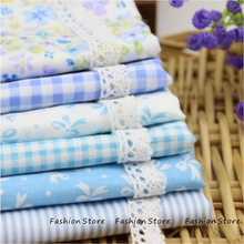 Blue butterfly flower series Cloth 6pcs Cotton Fabric For Sewing Quilting Patchwork Textile 40* 50 cm headwear and Body Cloth