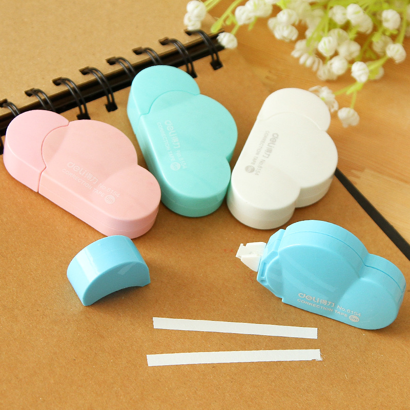 5mm*5m Deli Cute Kawaii Cloud Mini Small Correction Tape Korean Sweet Stationery Novelty Office Kids School Supplies Children