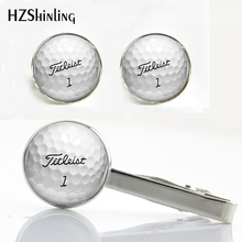 CT--001 New Trendy Golf Ball Clips & Cufflinks Set Golfer Gifts Playing Gold Cufflink Silver Glass Tie Clip Men's Jewelry