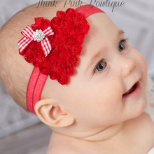 1 PC  Toddlers Solid Rose Flowers Heart Headbands With Boutique Rhinestones Headwear For Newborn Kids headwear SD006