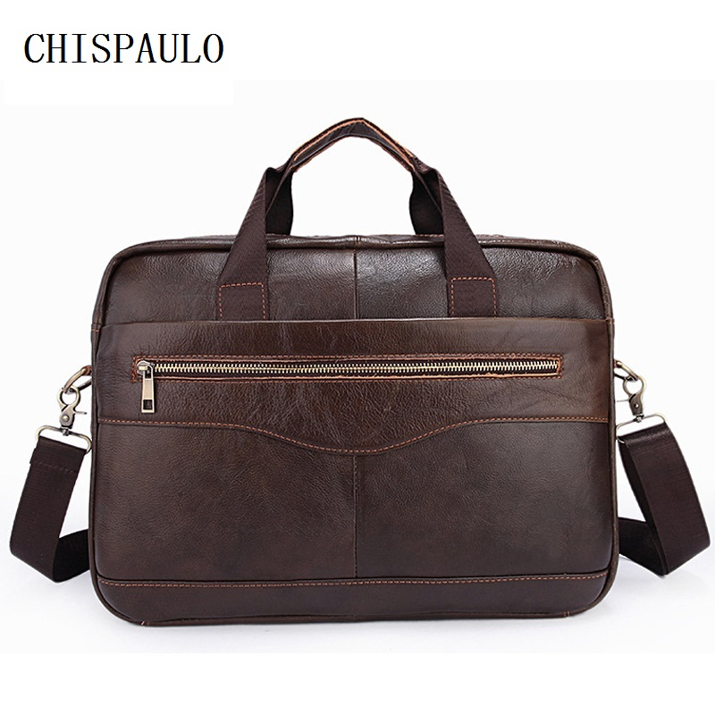 CHISPAULO Genuine Leather Bag Fashion Handbags Cowhide mens bag Fashion Brand Designer Handbags mens travel bags Vintage  T686<br>