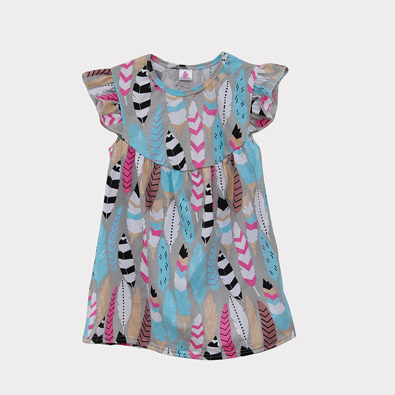 Big Promotion !! Holiday Style Baby Girl Dress Round Neck Butterfly Sleeve Feather Printing Kids Fashion Summer Outfits DX014<br><br>Aliexpress