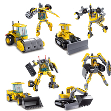 KAZI Engineering 3D Construction Vehicle Transformation Block Building Toys Playmobil Set Compatible with Lego